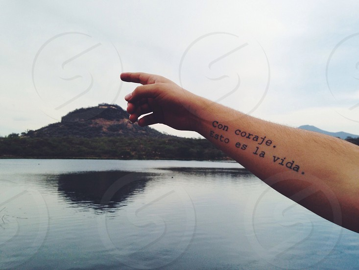 hand with arm tattoo reaching out to point at island on other side of serene pond photo