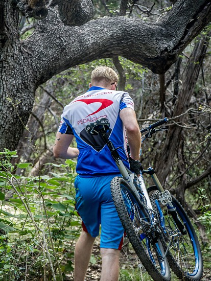 stay healthy workout fit man bike mountain bike bicycle trail hike a bike photo