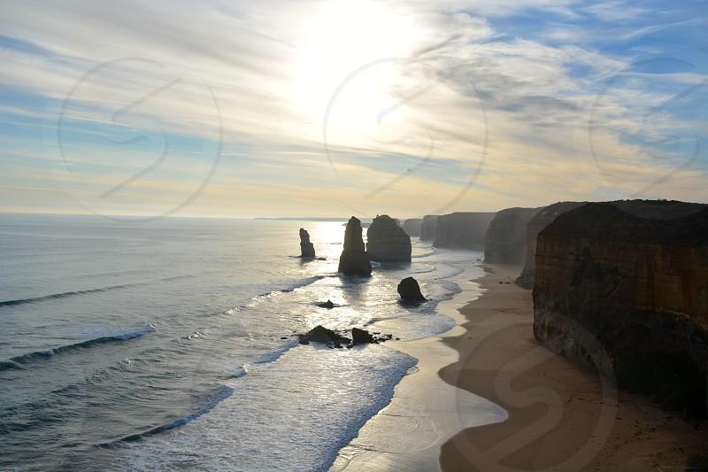 rocks on ocean water photo