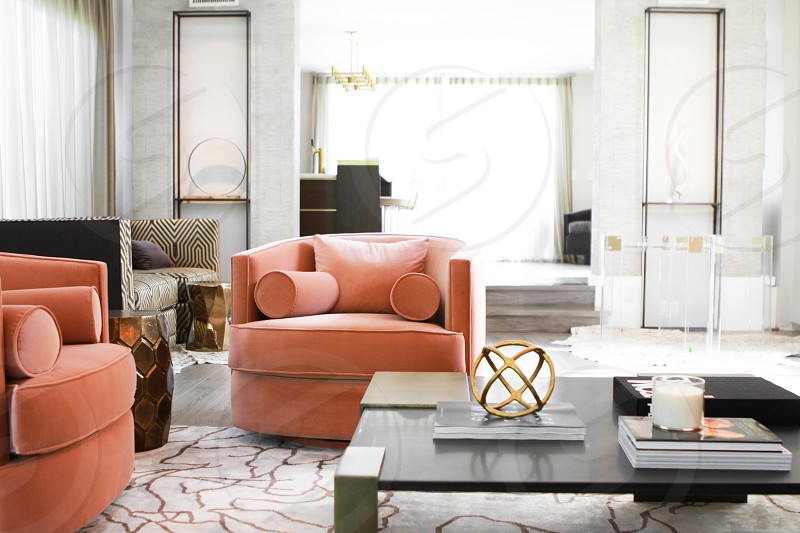 Chic contemporary styled interior with a vintage twist. Salmon gold white and slate coloring. Bel Air California photo