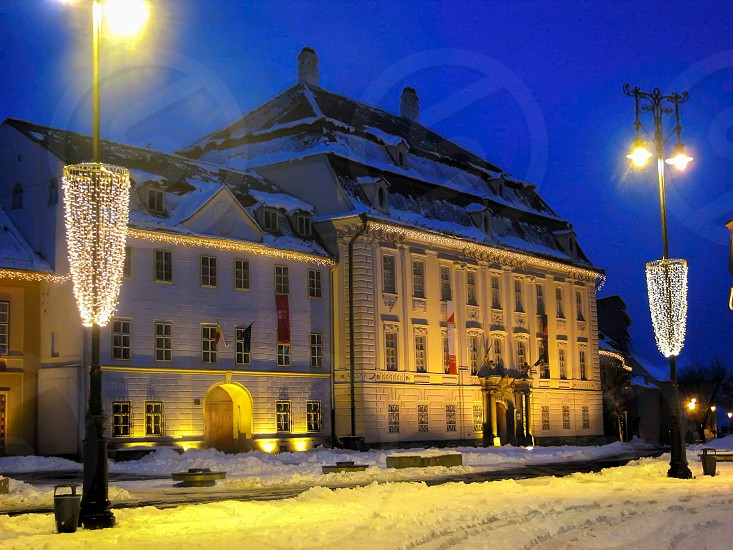 Blue hour - Brukenthal National Museum - Sibiu ( European Capital of Culture 2007 ) Big Square - Sibiu City Romania 400m 04-01-2007 photo