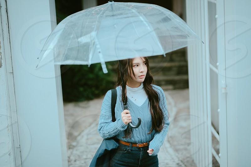 Rainy day girl umbrella miss love blue long hair  photo
