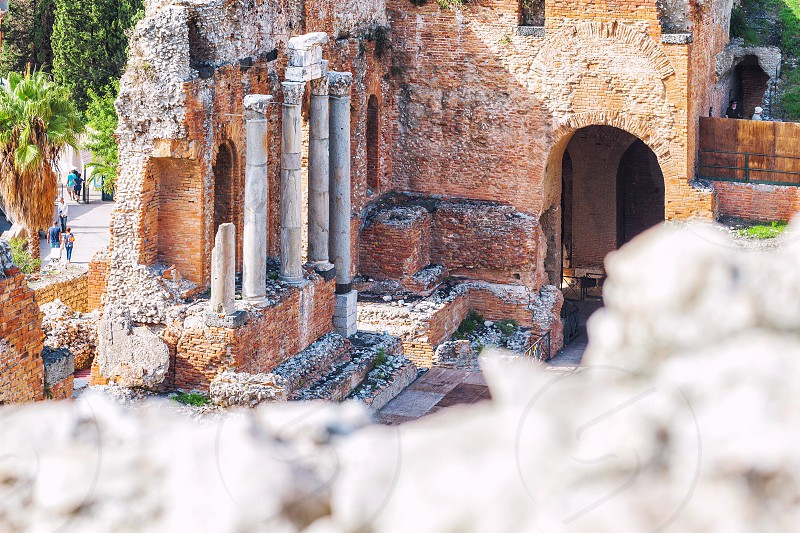 Detail of an Ancient theatre of Taormina Sicily photo