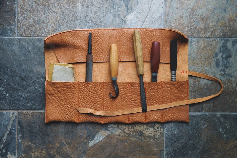 Spoon carvers tool roll photo