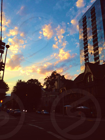 Beautiful sunset reflected off a mirrored building in Portland.  photo