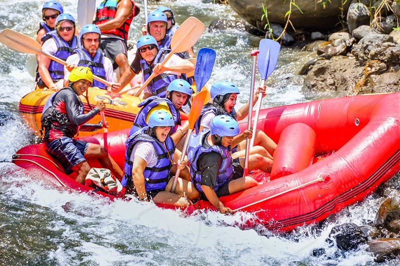 One of Bali tourist attaction. White Water Rafting. Everyday there are hundreds of people from many countries try rafting in group or sole Kayaking. photo