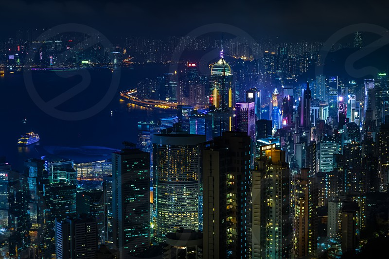 Aerial view from Victoria peak to skyscrapers of Hong Kong and new territories Hong Kong China photo