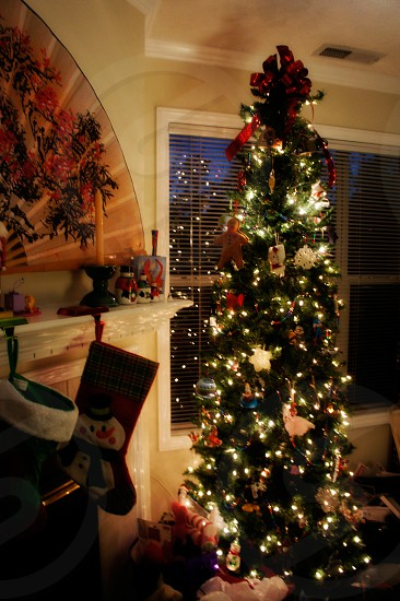 Living room interior with a decorated Christmas tree photo