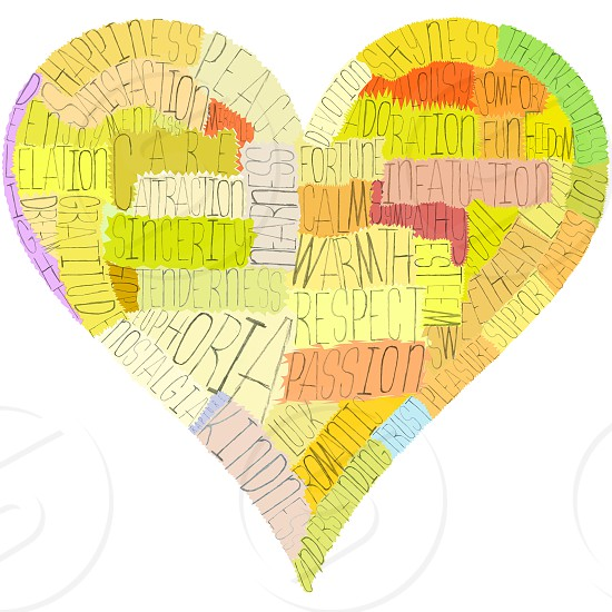 A Valentine's Day heart composed from words about love senses and psychology terms (such as passion respect nostalgia and a lot of others). Warm colors hand-made letters and masks great concept! photo