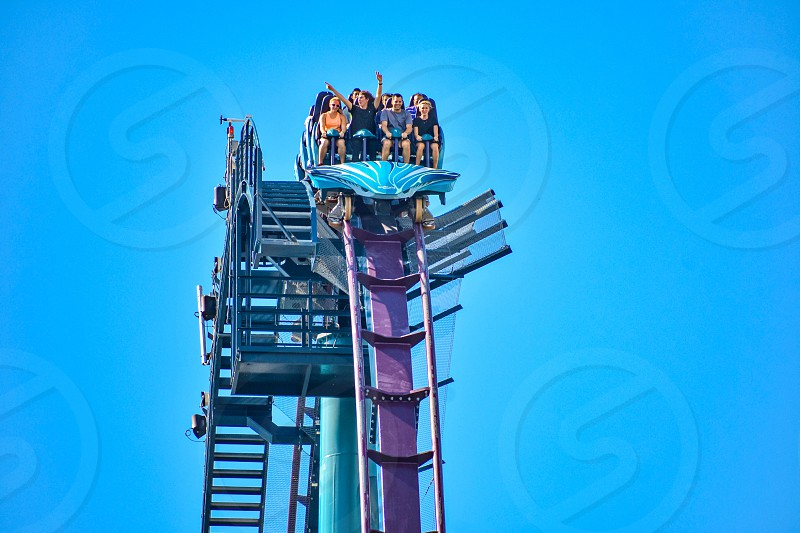 Orlando Florida. December 26 2018. This roller coaster is known for high speeds deep dives and thrills around every turn at Seaworld in International Drive area (14) photo