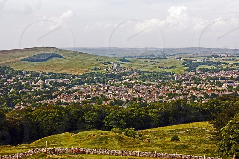 UK.ENGLAND. BUXTON. Derbyshire. The spa town of Buxton seen from the local landmark of Solomon's Temple.  photo