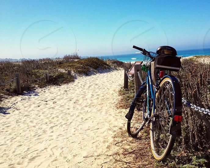 Bike on beach path photo