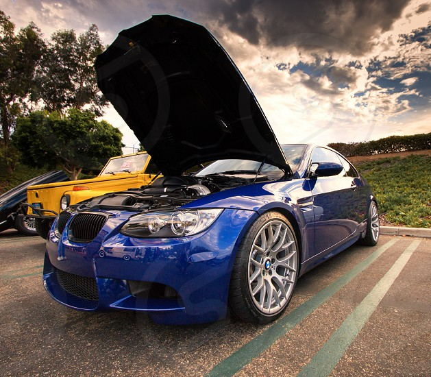 BMW M3 on display at cars and coffee at sunrise photo