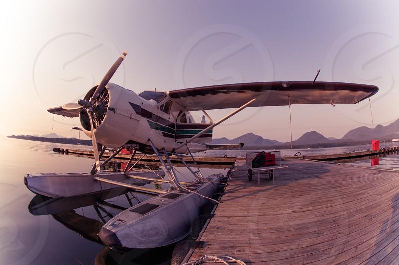 A float plane preparing to take off in Alaska. photo