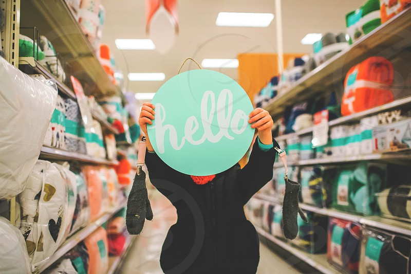 Hello sign for a greeting photo