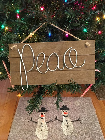 Merry Christmas Christmas tree decoration peace colored lights snowman photo