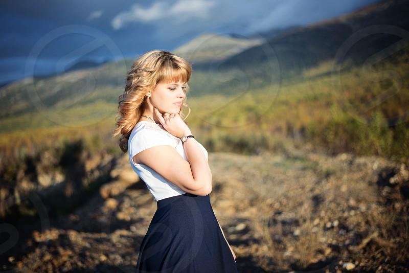 Girl women dream rocks mountain beautiful beauty nice nature photo