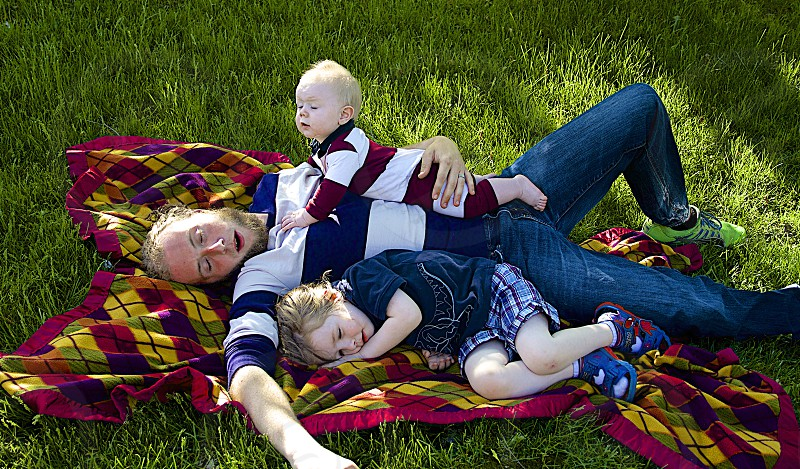 Siesta outside after a long day of play photo