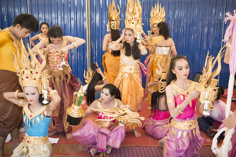 Traditional Thai Dance Girls at the Elephant Round-up Festival in the city of Surin in Northeastern Thailand in Southeastasia.  photo