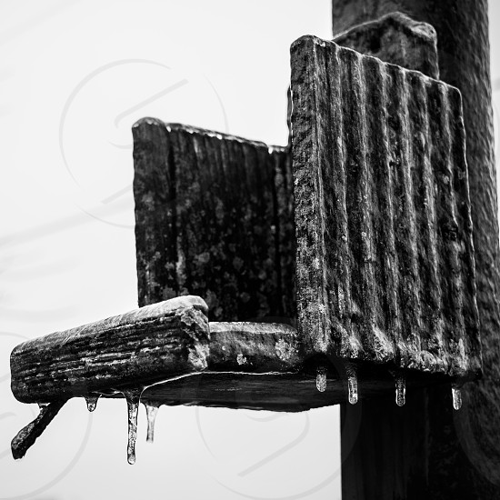 Birdhouse Ice Black and white storm Wood structure nature   photo