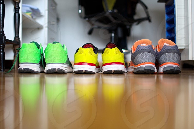Athletic shoes in a row photo