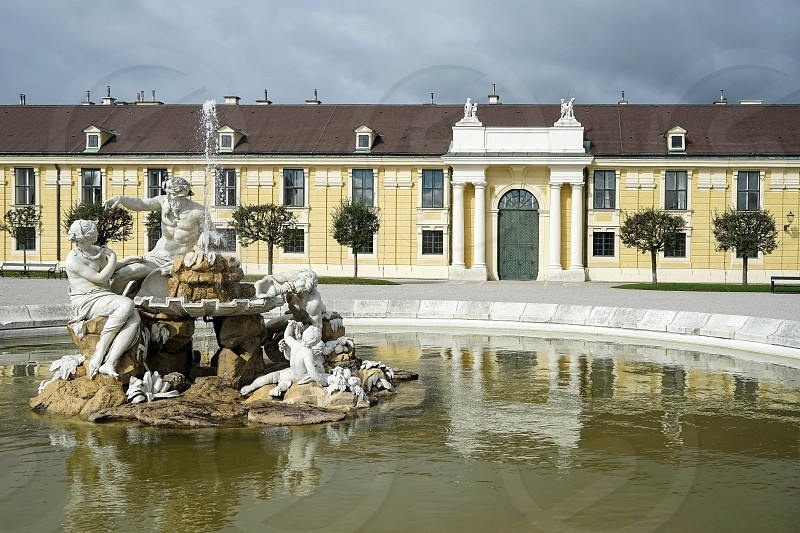 Danube Inn and Enns statues at the Schonbrunn Palace in Vienna photo