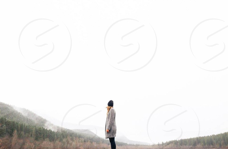 human standing at the middle of trees during fog photo