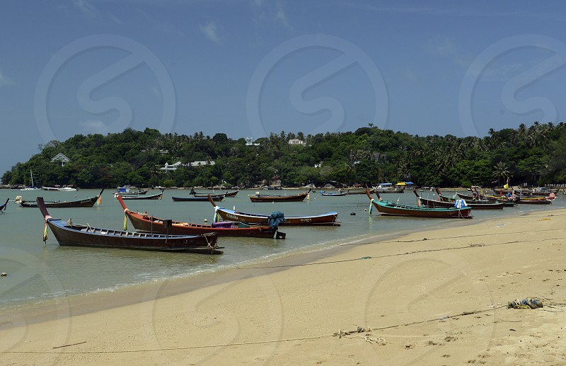 the Rawai Beach in the south on the Phuket Island in the south of Thailand in Southeastasia.