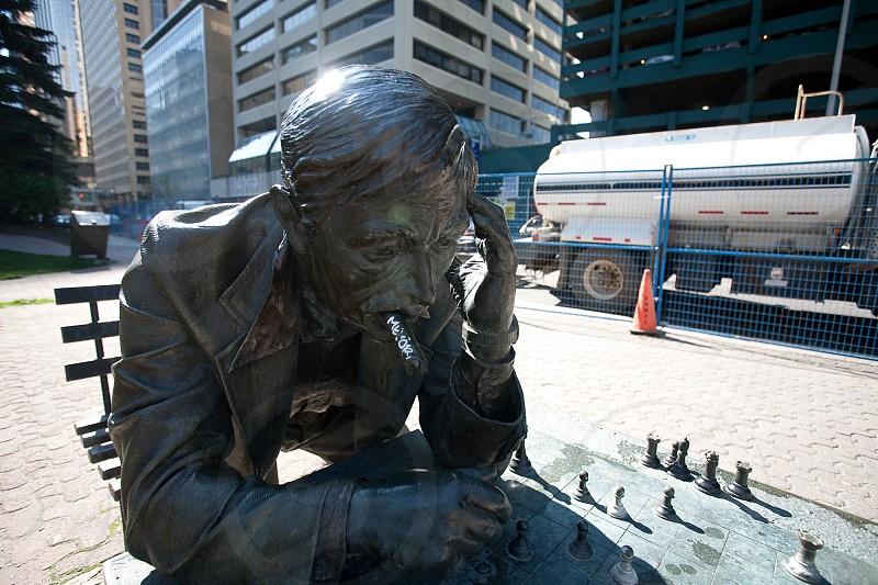 Playing chess with this statue in Calgary Canada. photo