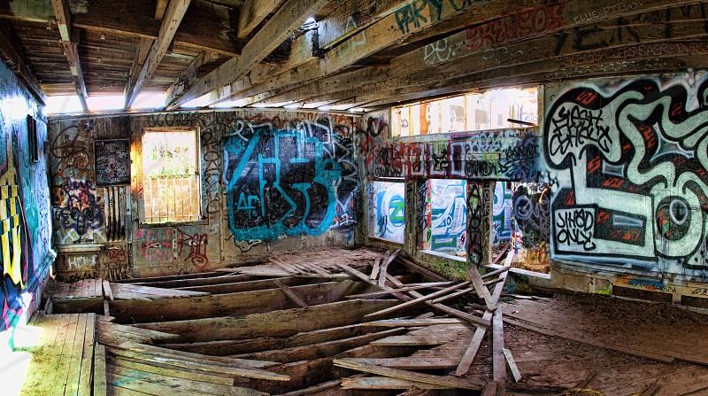 graffiti in wooden building photo