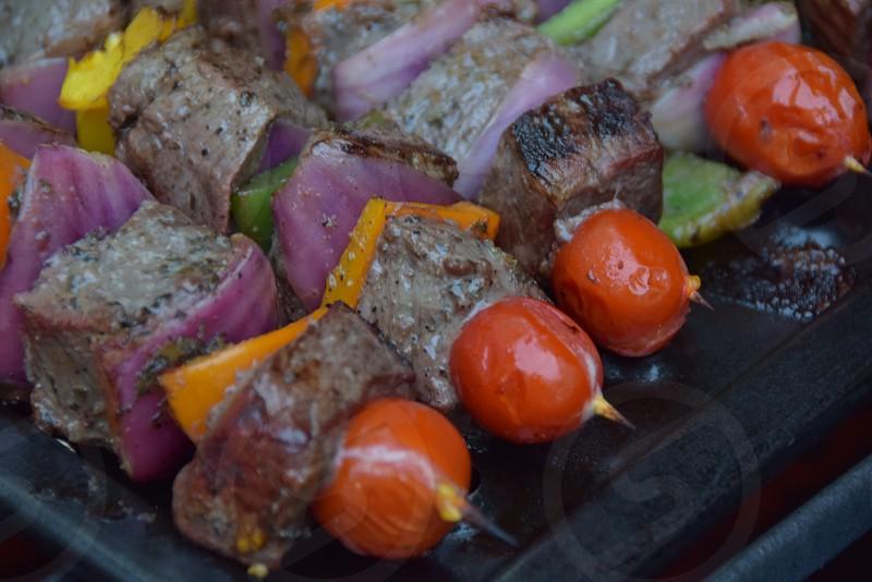 Street food Shish Kebabs photo