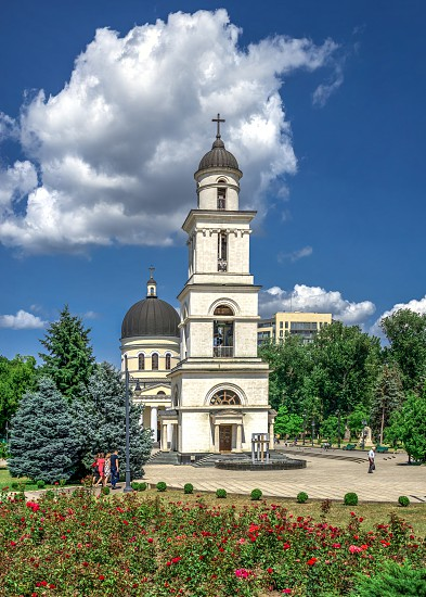Chisinau Moldova – 06.28.2019. Cathedral of the Nativity in the Chisinau Cathedral Park Moldova on a sunny summer day photo