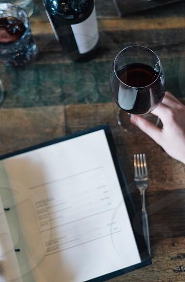 Top view of Wine Menu in Restaurant photo