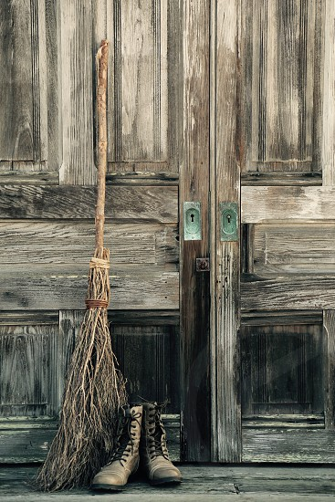 Witches Door with Broom and Boots photo