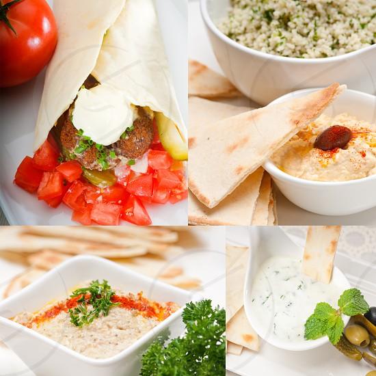 most popular Arab middle east food collectionhummus falafelmutabalpita bread photo