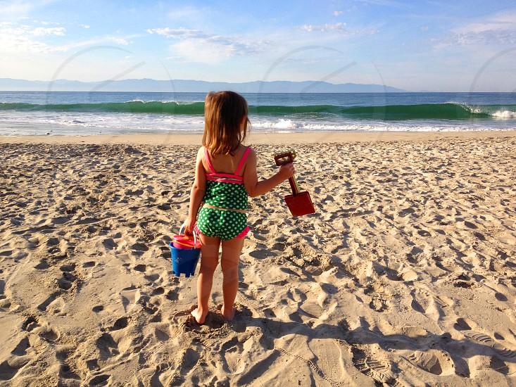 girl kid at the beach photo