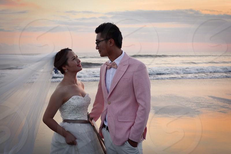 Couple love beach wedding newly wedded couple couple on beach couple in love valentines couple photo