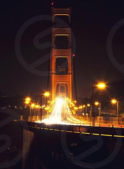 black long bridge night view photo