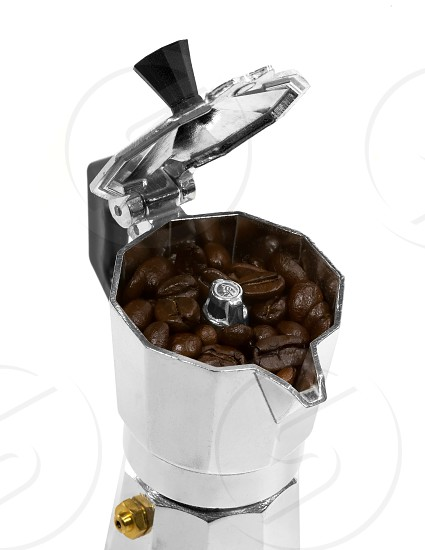 coffee beans and mocha machine on white background photo