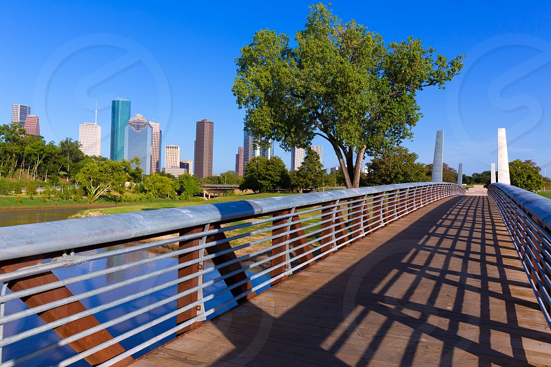 Houston skyline from Memorial park at Texas USA US photo
