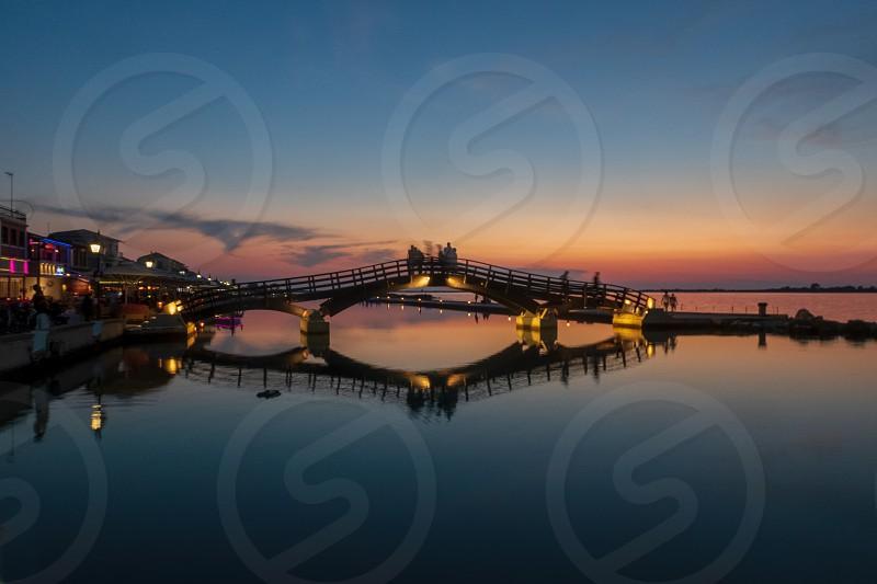 Lefkada Harbour at sunset photo
