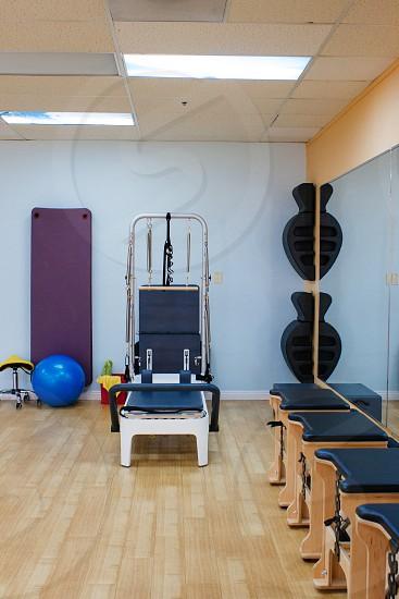 blue stability ball inside gym photo