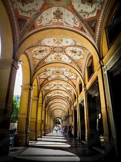 Italian Archway with ceiling fresco photo