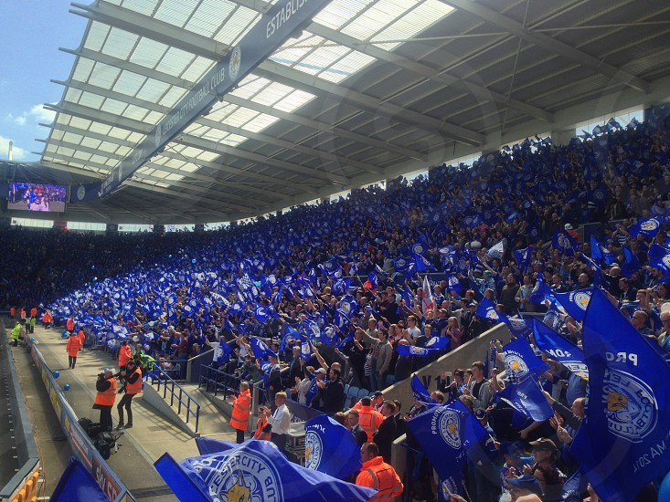 Lcfc leicester city football club soccer blue fans celebrate celebrating party joy promotion photo