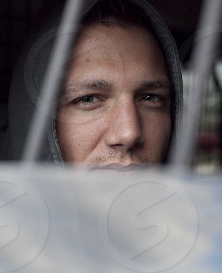 Skin man police car arrested jail photo