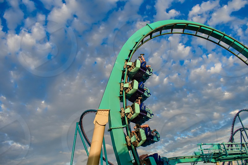 Orlando Florida. February 25  2019 People having fun Kraken rollercoaster at Seaworld Marine Theme Park (4) photo