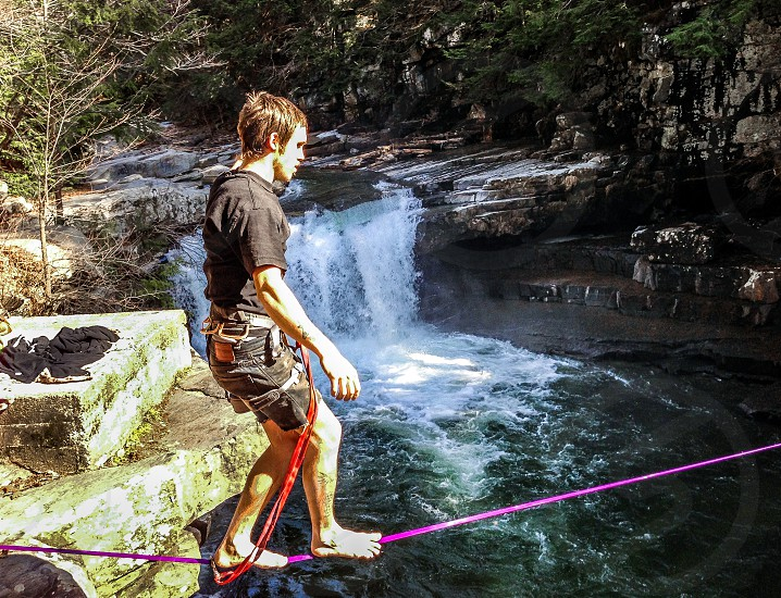 slack line over falls photo