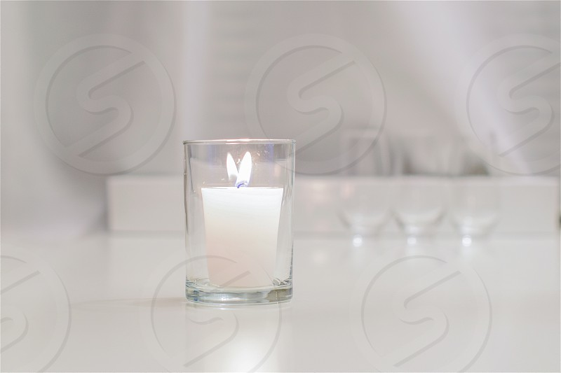 Candle White Candle Indoor Room Glass photo