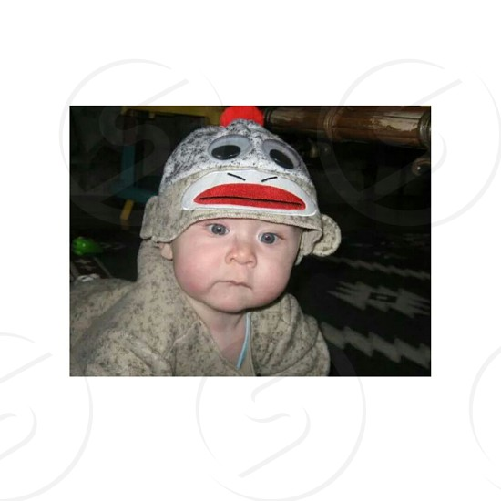 This is my little brother 6 years ago. Sock monkey for halloween. photo
