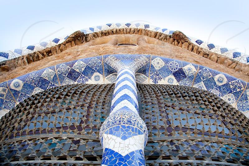 Barcelona Park Guell of Gaudi modernism mosaic details photo